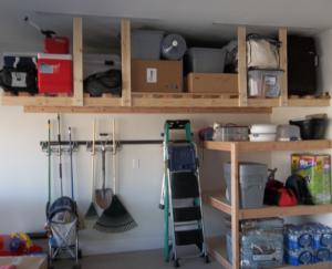 overhead storage shelves